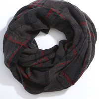 Plaid Infinity Scarf - Grey