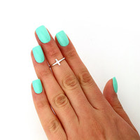 sterling silver knuckle ring Sideways Cross design above knuckle ring adjustable midi ring also toe ring (T-94)