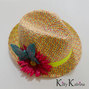 Neon Fedora, Hat, Daisy, Butterfly, Black Light Reactive, Rave Outfit, Rave Wear, Coachella, Burningman, Ultra Music Festival, Lollapalooza