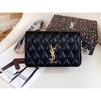 YSL hot selling lady's casual shopping bag fashion solid color zigzag line shoulder bag Black