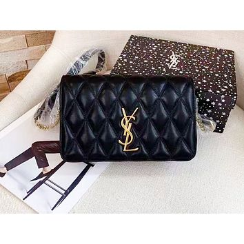 Tiktoki1 YSL hot selling lady's casual shopping bag fashion solid color zigzag line shoulder bag Black