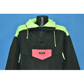 90s Columbia Black Pink Green Neon Pull Over Jacket Medium
