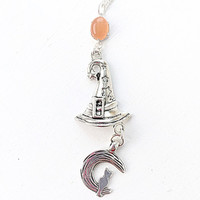 Halloween Jewelry, Witch Hat Charm, Cat and Moon Charm, Halloween Silver Necklace, Fall Jewelry