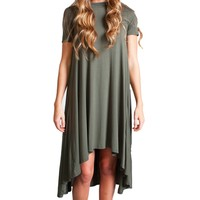 Army Green Piko High Low Dress
