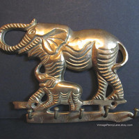 Vintage Brass Elephant Key Hooks, Wall Hanging, House Keys