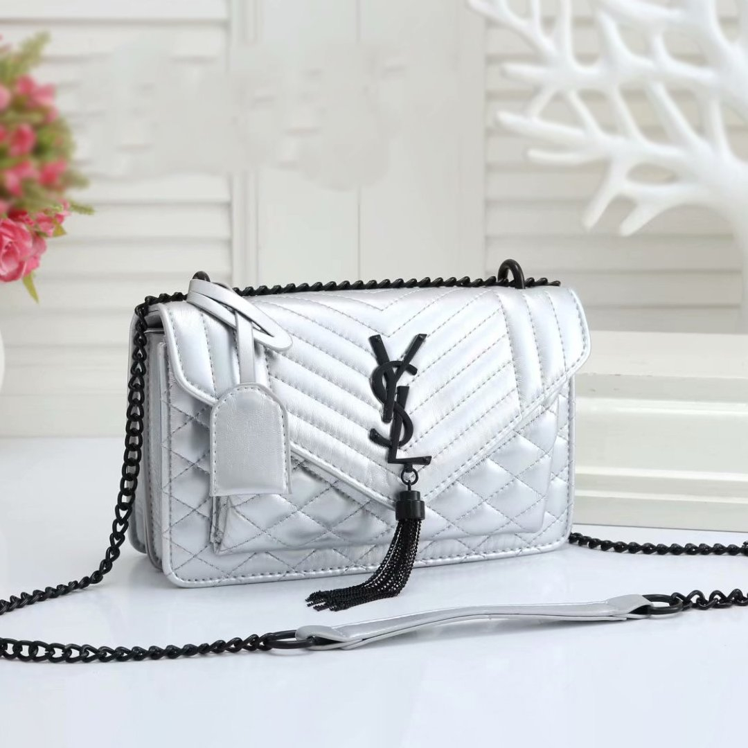 Image of YSL classic texture leather chain bag fashion lady shoulder messenger bag