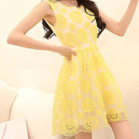 Yellow Patterned Lace Sleeveless Dress