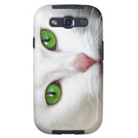 Green Eyed White Cat Samsung S3 Case Samsung Galaxy SIII Case