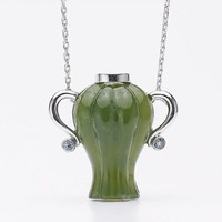 Green Jade Jadeite Water Jar Shape Design Pendant Necklace with Sterling Silver Chain