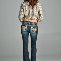 Cello Jeans Bootcut with Gold Stitched Flap Pockets YW-10416