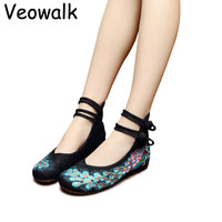 Veowalk Big Size 34-41 Woman Flat Shoes Sequined Peacock Embroidery Shoes Women Chinese Old Peking Casual Cloth Dancing Shoes