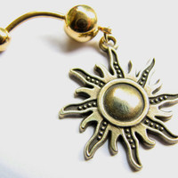 Sun Belly Ring Gold Belly Button Jewerly Navel Ring