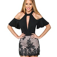 RP96 Sexy Choker High Neck Plunge V Keyhole Ruffle Sleeve Cut out Shoulder Women Bodysuits  Playsuits Rompers Jumpsuits New