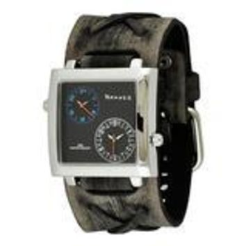 Dual Time SQ Men's Watch with Faded Grey X Leather Cuff Band