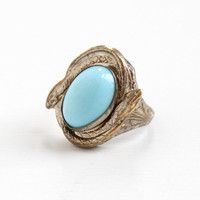 Vintage Art Deco Snake Motif Simulated Turquoise Ring - Rare Size 5 1/4 1930s Double Serpent Baby Blue Cabochon Stone Costume Jewelry