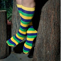 Mardi Gras Striped Socks