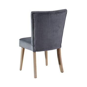 """Blue Accent Chair - 21"""" X 22"""" X 34"""" Blue Wood Polyester Dining Chair"""