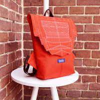 Backpack orange hipster backpack rucksack cycling bag waterproof small mini backpack Zurichtoren geometric simple minimalist backpack brick