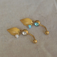 opal belly button ring leaf belly button jewelry,opal belly ring,opal navel ring