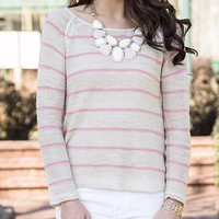 I've Got Your Back Oatmeal & Coral Striped Lace Back Sweater