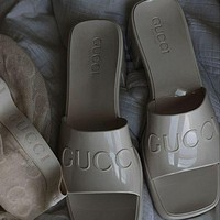 G GG slippers summer new open-toed thick heel mid-heel slippers increase one-word drag and wear sandals Shoes Gray