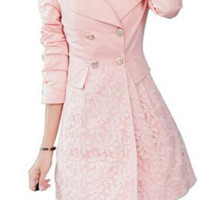 Vintage Floral Lace Double Breasted SLIM Trench Coat