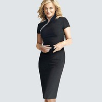 Women Casual Front Zipper Wear to Work Business Office Dress Summer Vintage Bodycon Sheath Slim Pencil Dress HB60