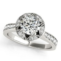 Art Deco Inspired Engagement Ring Diamond Setting Moissanite Center - Gwen