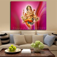 Dancing Lord Ganesha Wallpaper Wall Art Canvas Posters Prints Painting Wall Pictures Artwork For Office Living Room Home Decor