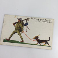 Vintage Army Comic Postcard, Soldier with Weiner Dog, Marching Soldier and Dachshund