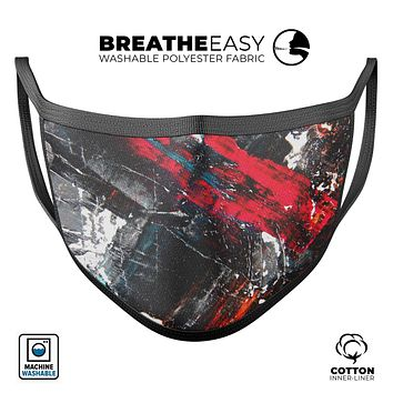 Abstract Grungy Oil Mess - Made in USA Mouth Cover Unisex Anti-Dust Cotton Blend Reusable & Washable Face Mask with Adjustable Sizing for Adult or Child