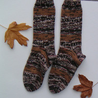 Hand knit woman's washable wool socks, fall colors