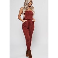 Mutual Feeling Strapless Jumpsuit (Burgundy)