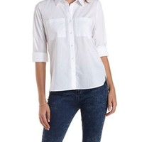 White Collared Button-Up Shirt by Charlotte Russe