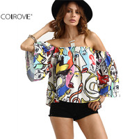 COLROVE Women Summer Shirt Off The Shoulder Graffiti Printed Top Multi Color Three Quarter Length Sleeve Blouse