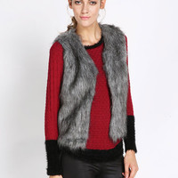 Gray Plus Size V-Neck Sleeveless Faux Fur Vest Waist Coat