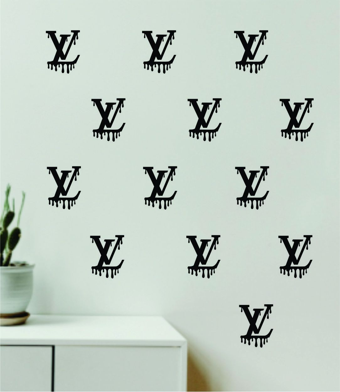 Image of Louis Vuitton Drip Logo Pattern Pack of 20 Wall Decal Home Decor Bedroom Room Vinyl Sticker Art Quote Designer Brand Luxury Girls Cute Expensive LV