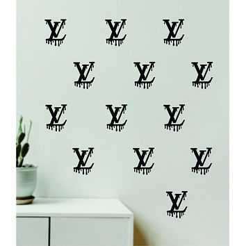Louis Vuitton Drip Logo Pattern Pack of 20 Wall Decal Home Decor Bedroom Room Vinyl Sticker Art Quote Designer Brand Luxury Girls Cute Expensive LV