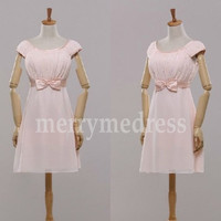 Beads Strapless Bowknot Wide Straps A-Line Short Bridesmaid Dress, Mini Chiffon Formal Evening Party Prom Dress New Homecoming Dress