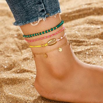 Beaded Anklets for Women Gold Shell Wafer Rope Barefoot Sandals Foot Chain Beach Jewelry