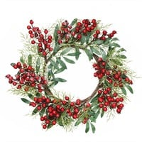 """18"""" Frosted Artificial Green Leaves and Red Berries Decorative Christmas Wreath - Unlit"""