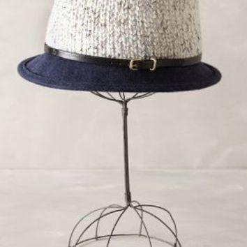 Colorblock Knit Fedora by Anthropologie in Navy Size: One Size Hats