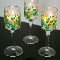 Hand Painted Yellow Flowered Candle Holders