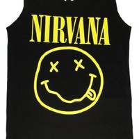 Nirvana Smiley Face Tank Top Rock Band Funny T shirts Singlets-Black-Small