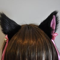 Black long fur inner pink 9 cm Kitty Cat Ear FOX ear Hair Clip Bell set Cosplay Costumes Party Black Friday Cyber Monday