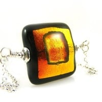 Orange Gold and Black Dichroic Glass Square Pendant Necklace on Sterling Silver Chain for Halloween
