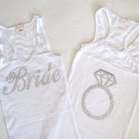 Bride Tank Top Shirt Half Lace With Ring on by TheLittleBridalShop