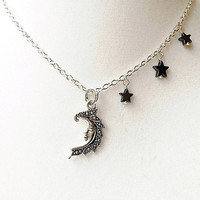 Silver Moon & Dangling Hematite Stars Necklace