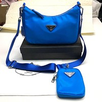 Prada classic solid color simple ladies two-piece messenger bag shoulder bag Blue