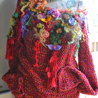 Romantic Woman Knitted sweaterFairy gypsy Bohemian Art To Wear sweater Hippie Gypsy sweater Boho Mori Girl altered  sweater one of a kind